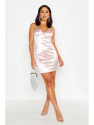 Boohoo Diamante Bust Stretch Satin Dress