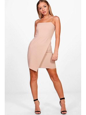 Boohoo Diamante Straps Wrap Detail Bodycon Dress