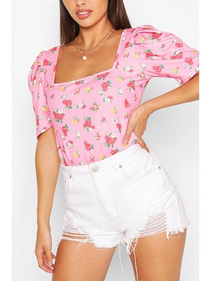 Boohoo Ditsy Floral Crepe Puff Sleeve Body