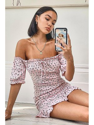 Boohoo Ditsy Floral Rib Ruffle Hem Mini Dress
