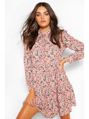 Boohoo Ditsy Floral Tiered Smock Dress