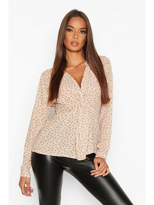 Boohoo Ditsy Print Knot Front Blouse