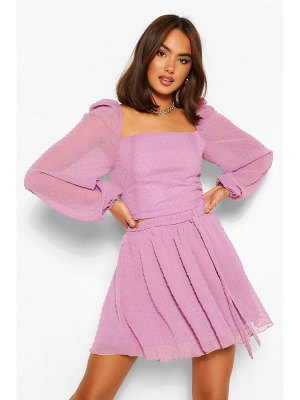 Boohoo Dobby Mesh Layered Hem Co-Ord Skater Skirt