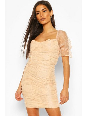 Boohoo Dobby Mesh Rouche Detail Mini Dress