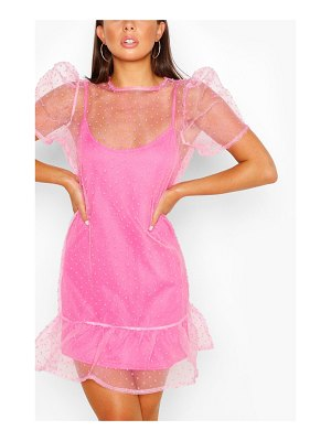 Boohoo Dobby Mesh Smock Dress