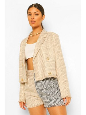 Boohoo Dog Tooth Flanneled Frayed Hem Cropped Blazer