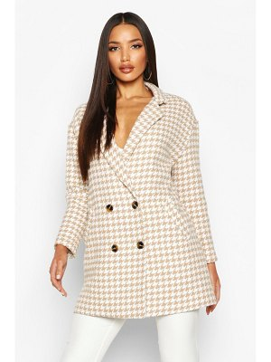 Boohoo Dogtooth Double Breasted Wool Look Coat