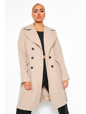 Boohoo Double Breasted Belted Longline Wool Look Coat