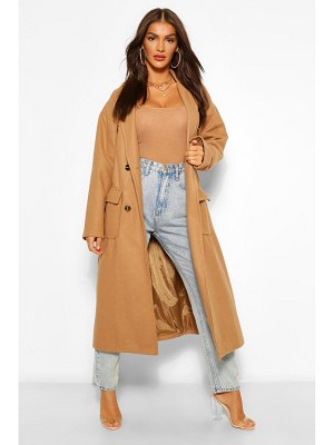 Boohoo Double Breasted Belted Wool Look Coat
