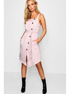 Boohoo Double Breasted Check Midi Dress