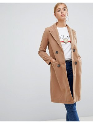 Boohoo double breasted coat in camel