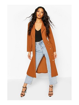 Boohoo Double Breasted Duster Coat With Tie Waist