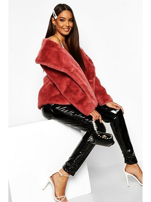 Boohoo Double Breasted Faux Fur Coat