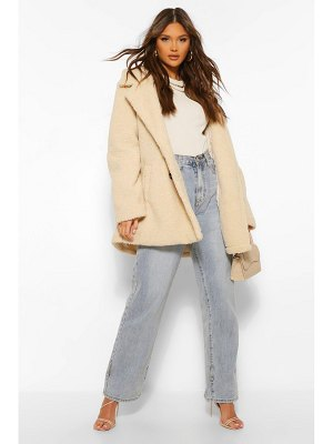 Boohoo Double Breasted Faux Teddy Fur Coat