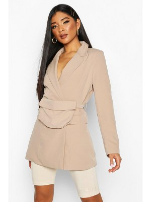 Boohoo Double Breasted Oversized Blazer With Belt Bag