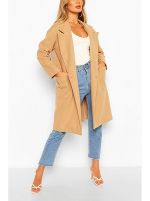 Boohoo Double Breasted Pocket Detail Wool Look Coat