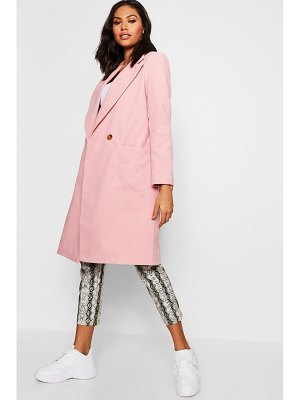Boohoo Double Breasted Pocket Wool Look Coat