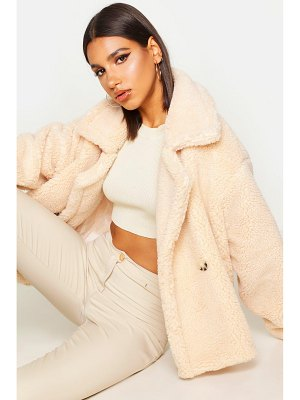 Boohoo Double Breasted Short Teddy Faux Fur Coat