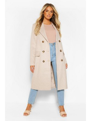 Boohoo Double Breasted Tonal Flannel Wool Look Coat