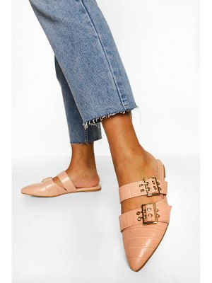 Boohoo Double Buckle Detail Croc Loafers