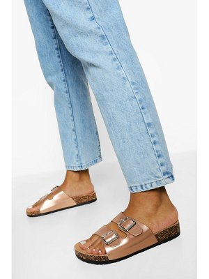 Boohoo Double Buckle Footbed Slider