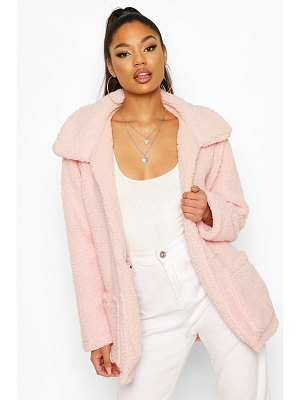 Boohoo Double Pocket Teddy Faux Fur Coat