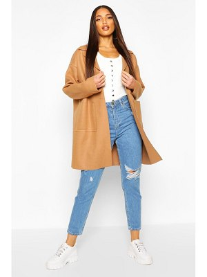 Boohoo Drop Shoulder Pocket Detail Wool Look Coat