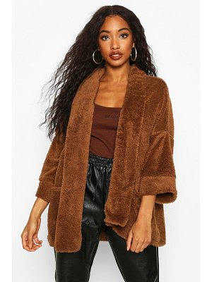 Boohoo Edge To Edge Shawl Collar Coat In Teddy Fleece