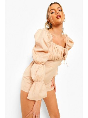 Boohoo Elasticated Puff Sleeve Cotton Romper