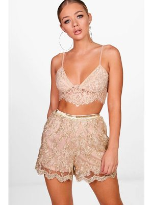 BOOHOO Eleanor All Over Embroidered Shorts