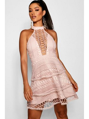 Boohoo Eleanor Lace High Neck Skater Dress