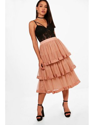 Boohoo Tulle Layered Full Midi Skirt