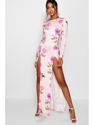 BOOHOO Eli Floral Long Sleeved Double Split Maxi Dress