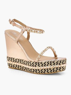 Boohoo Eliza Two Part Studded Wedges
