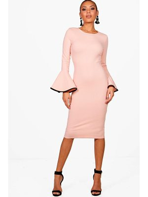 Boohoo Contrast Flared Sleeve Midi Dress