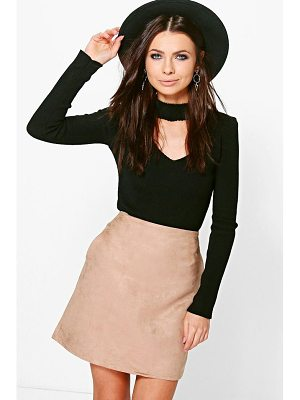 Boohoo Pocket Side Suedette Mini Skirt