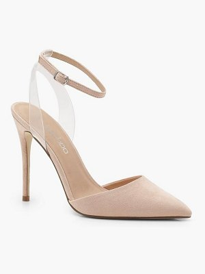 Boohoo Pointed Toe Clear Strap Heels