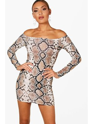 BOOHOO Ella Snake Print Bardot Bodycon Dress