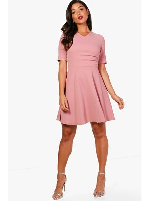BOOHOO Ellen Short Sleeve Wrap Skater Dress