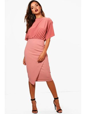 BOOHOO Elouise Batwing Top Wrap Midi Dress