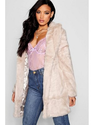 Boohoo Boutique Rever Collar Faux Fur Coat