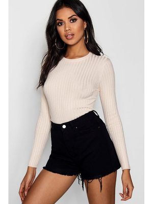 Boohoo Ribbed Crew Neck Top With 3/4 Sleeves