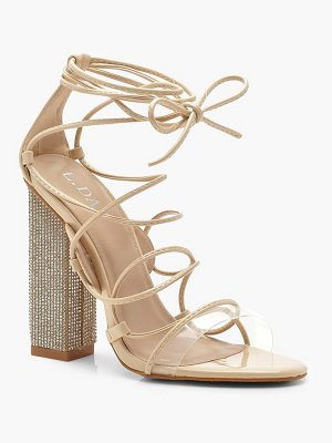 Boohoo Embellished Block Heel Lace Sandals