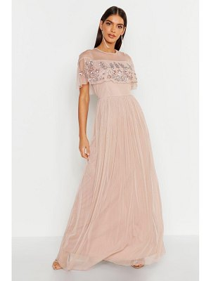 Boohoo Embellished Cape Skater Maxi Dress