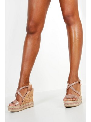 Boohoo Embellished Cork Wedges