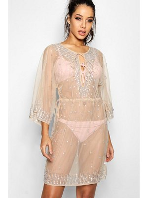 Boohoo Embellished Sheer Beach Kaftan