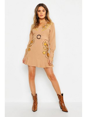 Boohoo Embroidered Belted Shift Dress