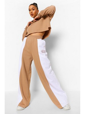 Boohoo Embroidered Colour Block Wide Leg Cropped Tracksuit