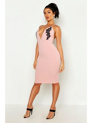 Boohoo Embroidered Plunge Midi Dress