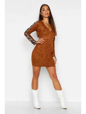 Boohoo Embroidered Tape Suedette Bodycon Dress